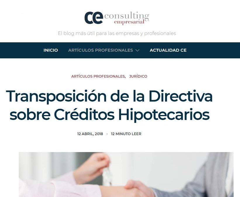 Transposición de la Directiva sobre Créditos Hipotecarios