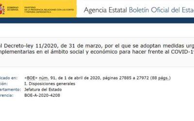 Real Decreto-ley 11/2020, 31 marzo de medidas urgentes complementarias en el ámbito social y económico por COVID-19